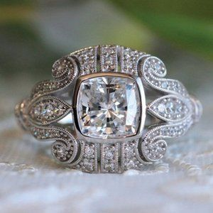 *NEW 925 Sterling Silver Vintage Art Deco Ring A